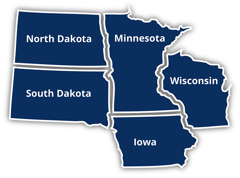 Map of 5 states that Press Line Industries services including North Dakota, South Dakota, Minnesota, Iowa, and Wisconsin